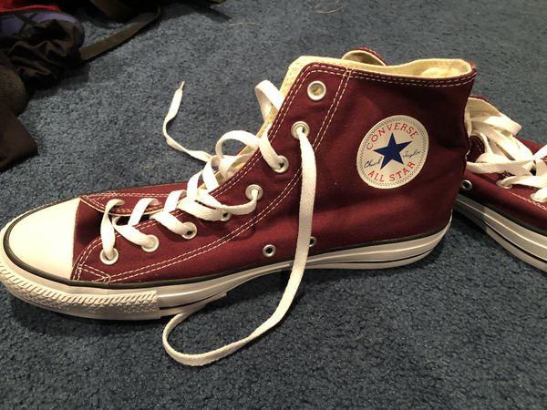 Maroon Converse high tops