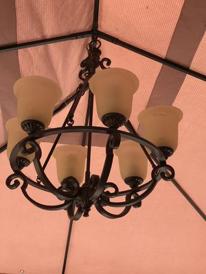 Six bulb chandelier. It's in excellent condition. Has all the hardware. Oil rubbed bronze color with frosted glass. for Sale in Chula Vista, CA