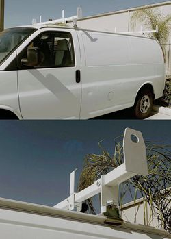 New in box adjustable 2 bars rain gutter mount ladder rack with ladder stopper for Sale in Los Angeles,  CA