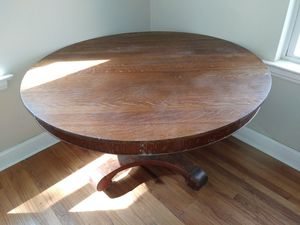 Solid oak antique dining room table w/4 matching chairs for Sale in Dupo, IL