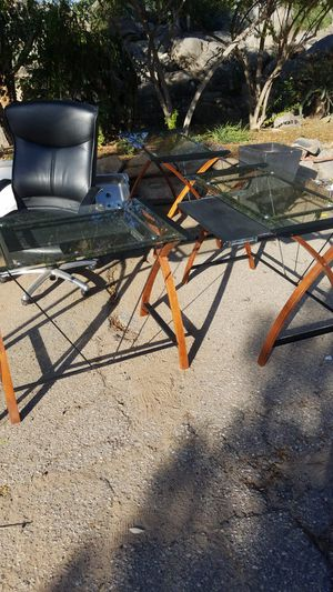 3 piece glass and wood computer/office desk plus office chair for Sale in El Cajon, CA