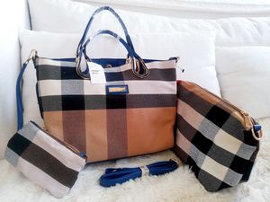 *BRAND NEW* Ladies Women Woman Large Plaid Handbag Purse Tote Satchel Bag + Detachable Small Coin Bag + Extra Pouch + Extendable Strap INCLUDED for Sale in Monterey Park, CA