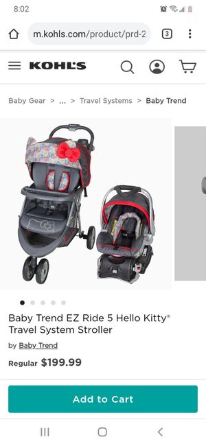 Hello Kitty car seat and stroller for Sale in Philadelphia, PA