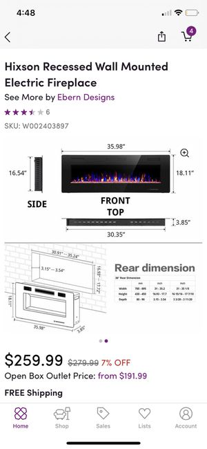Hixson recessed wall mount fireplace for Sale in Hopkinton, MA