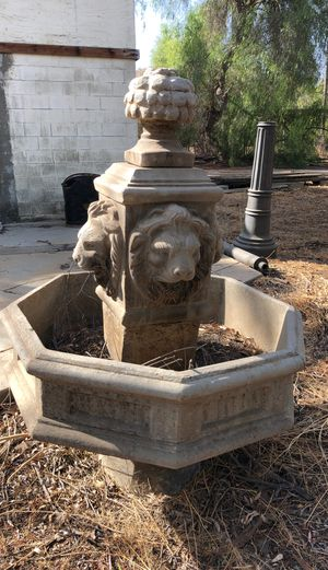 Two matching lion heads fountains. Made from concrete. Originally $2000 in perfect condition for Sale in Riverside, CA