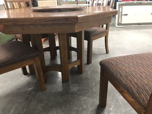 Beautiful Solid Oak Wood Table with 4 chairs for Sale in New Albany, OH