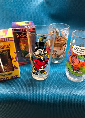 Vintage glasses Star Wars Snoopy Disney Pocahontas for Sale in Brentwood, CA