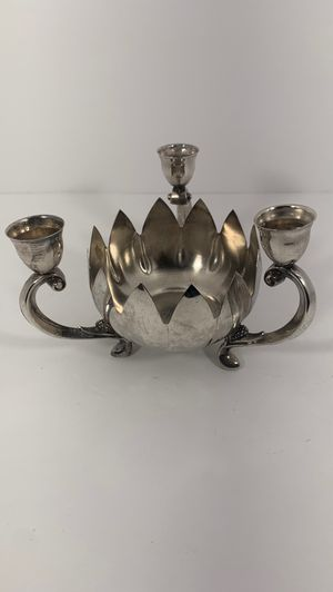 Vintage Lotus Flower candelabra three arms candle holder for Sale in Knightdale, NC