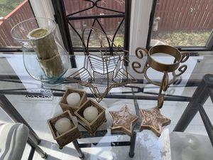 Gold star basket+ candles + glass vase + holder for Sale in Alexandria, VA