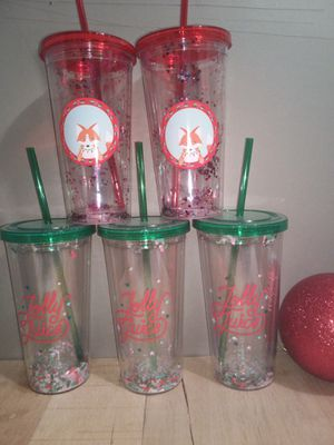 Large Holiday cups with straws $6.00 each for Sale in Greenbelt, MD