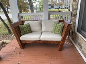 Hand built outdoor sofa with Pier 1 cushions for Sale in College Park, GA