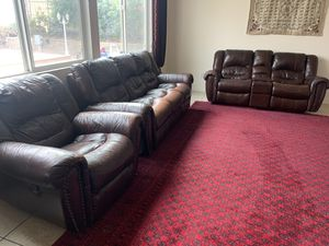 2 COUCHES + SINGLE ARMCHAIR WITH 5 RECLINERS!! (Offer is negotiable!) for Sale in Lake Elsinore, CA