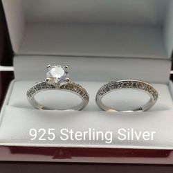 New with tag Solid 925 Sterling Silver ENGAGEMENT WEDDING Ring Set size 6/8 or 9 $150 set OR BEST OFFER ** FREE DELIVERY!!! 📦🚚** for Sale in Phoenix,  AZ