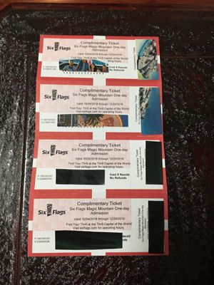 SIX FLAGS TICKETS GOOD UNTIL 12/29/19. $200.00 for all four for Sale in Los Angeles, CA