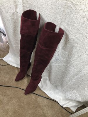 Burgundy thigh high boots for Sale in Washington, DC