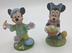 Disney Schmid Mickey painter and Minnie holding bird figurine for Sale in Seattle, WA