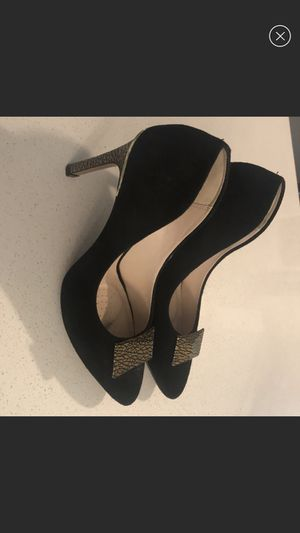 Clarks Black Suede Pumps with Gold Accents for Sale in Lake Forest Park, WA