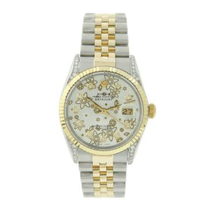 Rolex Datejust- 36mm Gold Steel Fluted Silver Floral Dial Diamond Lugs for Sale in Los Angeles, CA