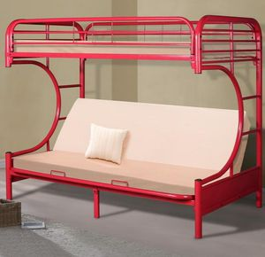 BEST Price 👑 Brand NEW Erica Red Metal Twin/Futon Bunk Bed | 4480 for Sale in Jessup, MD