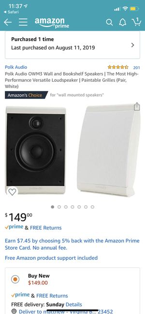 Polk audio OWM3 white wall mount surround speakers for Sale in Virginia Beach, VA