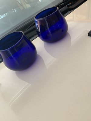 7 royal Blue glass candle holders for Sale in Fort Worth, TX