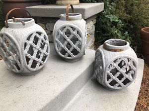 Three outdoor candle holders lanterns for Sale in Rancho Cucamonga, CA