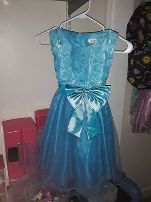 Girls size 6 blue Easter dress wedding church dress up sparkly tulle bows flowers for Sale in West Palm Beach, FL