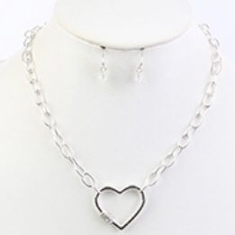 Silver Heart Pave Necklace And earring for Sale in Baltimore, MD