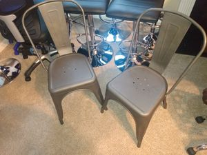 Brand New aluminum gun metal colored chairs 2pc for Sale in Jonesboro, GA