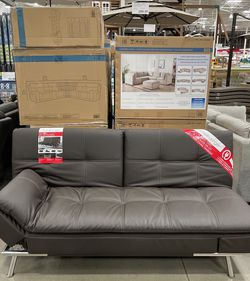 CLEARANCE   COSTCO Leather Sofa Bed Lounger Futon, Brown   LIKE NEW 🔥$50 DOWN for Sale in San Diego,  CA