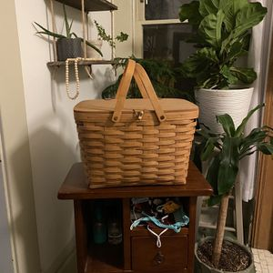 Brown Wood Basket / Handwoven / longaberger basket / Perfect Picnic Basket / Wood Chairs / Desk Chairs / Night Stand / Coffee Tables / Side Table for Sale in Columbus, OH