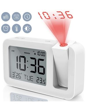 """TedGem Digital Projection Dual 3.8"""" LED Large Number Clock 4 Brightness, Snooze, 2 Alarm Sounds, for Bedroom, Office, Kitchen, White for Sale in Pomona, CA"""