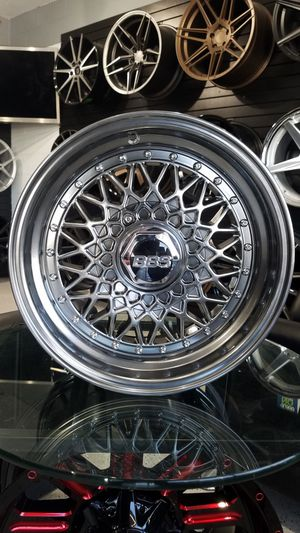 Hyper black 15x7 4x100 et20 bbs rs style wheels fits Honda miata versa lancer Sentra rims for Sale in Tempe, AZ