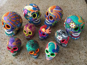 Hand painted skulls from S. Mexico for Sale in Phoenix, AZ