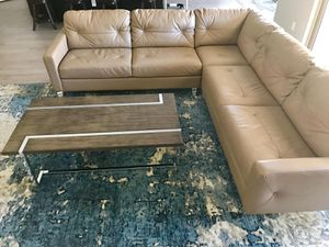 Beige / Tan top grain leather sectional / modern couch / coffee table / abstract rug / EXCELLENT CONDITION for Sale in Glendale, AZ