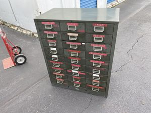"""Antique Metal Storage Parts Cabinet 38"""" ht for Sale in Chicago, IL"""