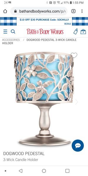 DOGWOOD PEDESTAL3-Wick Candle Holder for Sale in Montclair, CA