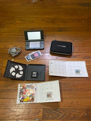Nintendo 3DS XL with charger, case, and 3 games (LEGO Batman 2 DC super heroes, Super Smash Bros for 3DS, and lastly Animal Crossing New Leaf) for Sale in Dearborn, MI