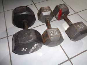 3 dumbells weights 30lbs each 90lb total for Sale in Hialeah, FL