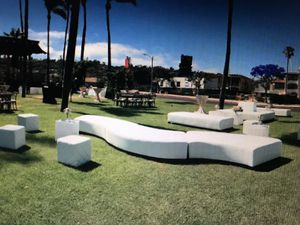 White outdoor event/ wedding furniture. Lots of options and in like new condition. Seats 80-100 people. Very modern and incredibly stunning. for Sale in San Diego, CA