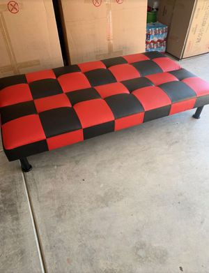 Brand New Black & Red Checkered Leather Tufted Futon for Sale in Puyallup, WA