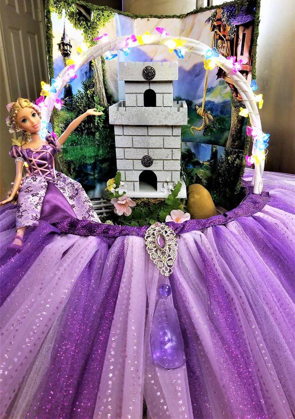 Disney's Princess Rapunzel Easter Basket - Handmade lavender and White Tulle