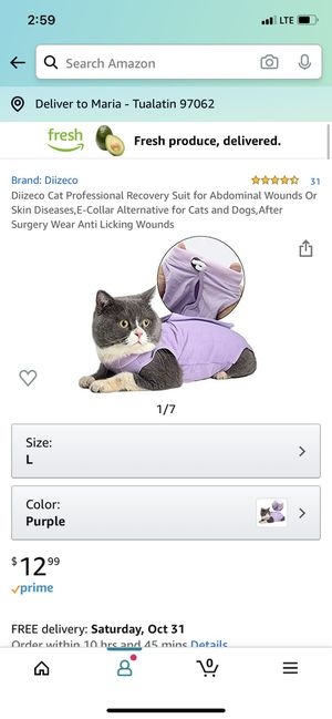 Cat recovery suit - size medium for Sale in Tualatin, OR