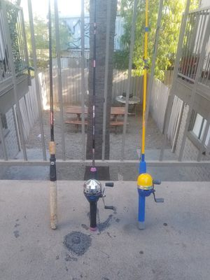 Three Fishing Rods With 2 Reels for Sale in Mesa, AZ