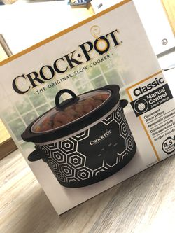 Crockpot Round Slow Cooker, 4.5 quart, Black & White Pattern (SCR450-HX) for Sale in Lynnwood,  WA