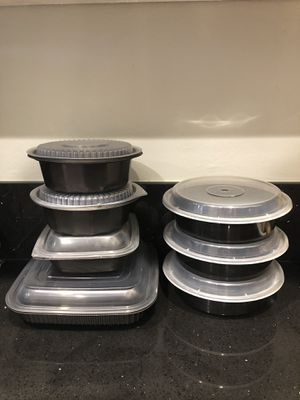 7 Black Plastic Food Storage Containers for Sale in Fullerton, CA