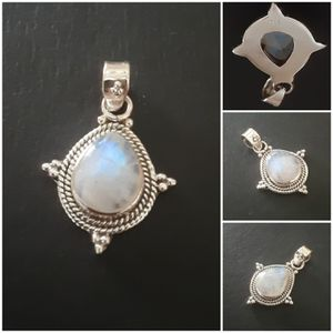 92.5 Sterling Silver Beaded Rainbow Moonstone Pendant for Sale in Pawtucket, RI