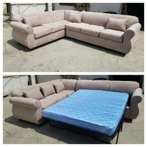 NEW 7X9FT GIBSON CREAM FABRIC SECTIONAL WITH SLEEPER COUCHES for Sale in West Covina, CA