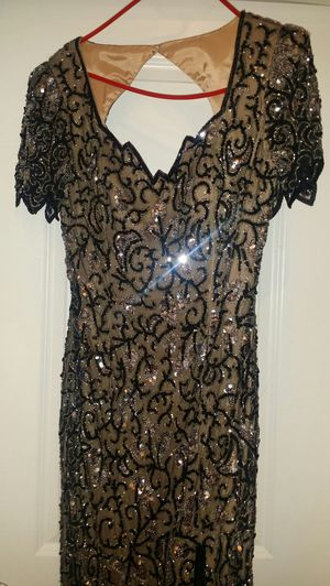 Reduced beaded/Sequined Black and Cream Prom Dress for Sale in Gulfport, MS
