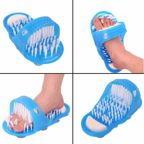 Shower Foot Feet Cleaner Scrubber Washer Bath Shoes Brush Foot Health Care Tool Household Bathroom Stone Massager Slipper Blue